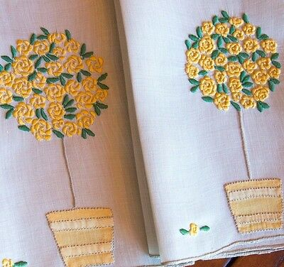 Pair Vintage Marghab Madeira Embroidered Rose Tree  Linen Hand Towels 14x21