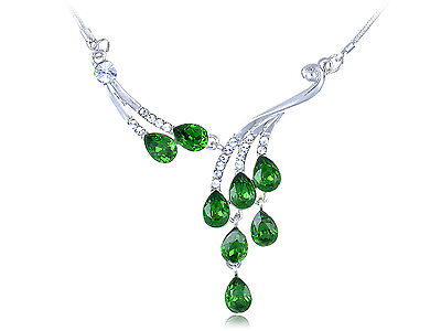 Womens Silver Tone Dangling Green Dew Droplets Clear Crystal Choker Necklace US