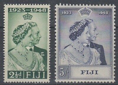 FIJI 1948 KGVI SILVER WEDDING SET (x2) MINT (ID:209/D47224)