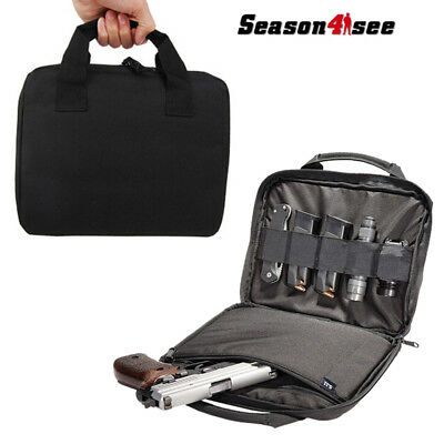 """600D Nylon 12""""Tactical Molle Padded Pistol Gun Pouch Hand Carry Bag Hunting Case"""