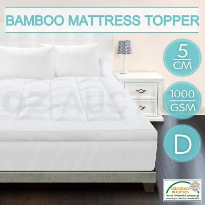 Double Size Mattress Topper 1000gsm Healthy Microfibre Bamboo Fibre 5cm Thick