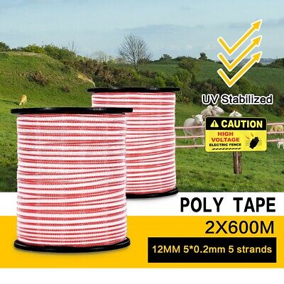1200M Roll Polytape Energiser Stainless Steel Insulator Electric Fence Poly Tape