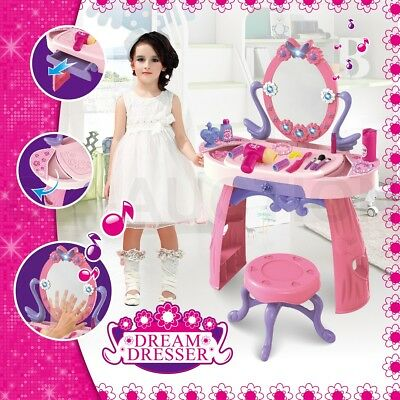 Girls Makeup Dressing Table Desk Stool Playset Pretend Toy Kit - Pink and Purple