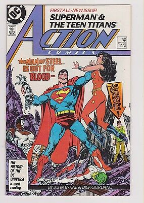 DC- SUPERMAN & THE TEEN TITANS - ACTION COMICS- 584 (JAN 87) Sleeved/Whiteboard