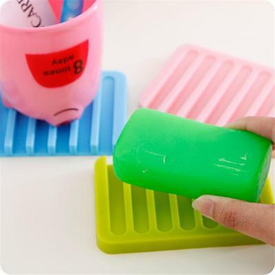 Flexible Bathroom Silicone Soap Dish Storage Holder Soapbox Plate Tray Drain TB