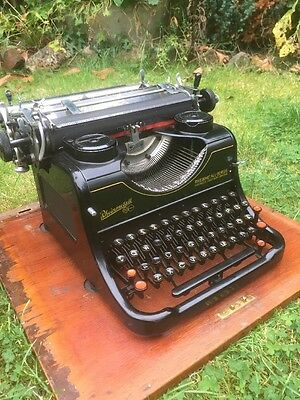 Vintage Typewriter with Wooden Case Rheinmetall Borsig Lovely Condition