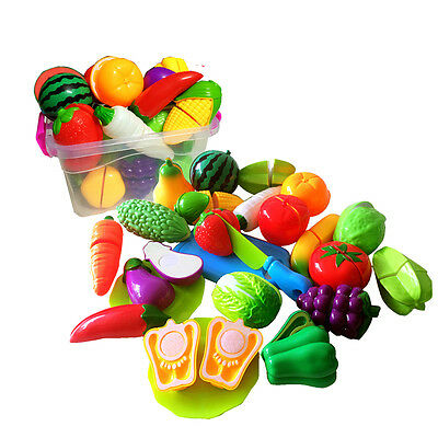 Child Pretend Role Play Kitchen Home Fruit Vegetable Food Toy Cutting Set Gift