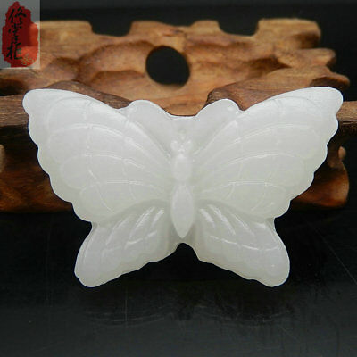 New Beautiful natural white jade hand-carved butterfly pendant rope necklace