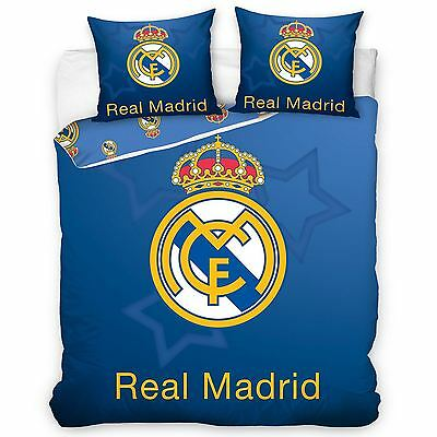 Real Madrid Cf Blue Double Duvet Cover Set 100% Cotton Reversible Bedding New