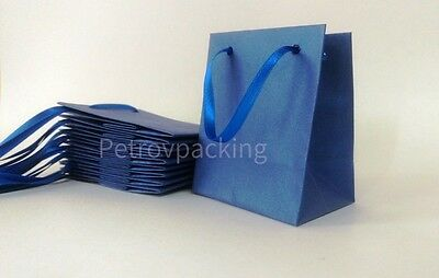 """Extra Small """"Blue Pearl"""" Metallic Paper Gift Bags Pk Of 10 Handmade"""