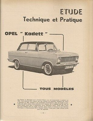 Revue Technique Automobile 228 Rta 1965 Etude Opel Kadett A Citroen 2Cv 1963 65
