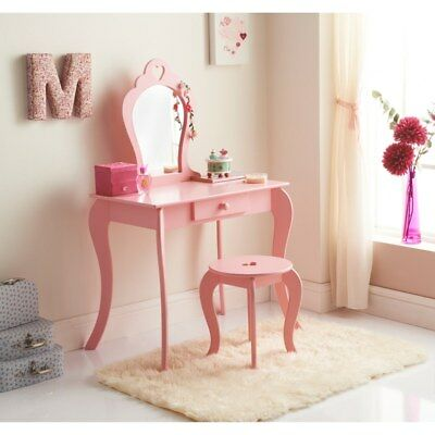 Children's Wooden Pink Amelia Vanity Set/ Dressing Table With Mirror & Stool
