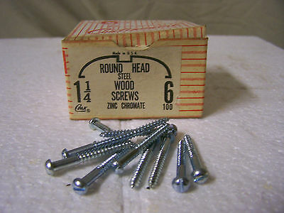 "#6 x 1 1/4"" Round Head Zinc Chromate Plated Wood Screws Slotted USA Made Qty 100"
