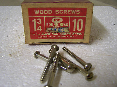 "#10 x 1 3/4"" Round Head Nickel Plated Wood Screws  Slotted Qty. 100"