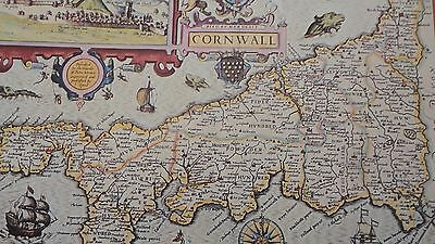 Antique Map of Britain England Cornwall  John Speed  1610  Reproduction