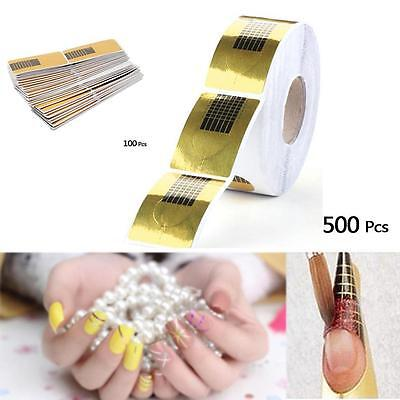 500 / 100pcs Pro Nail Art Tips Extension Forms Guides Stickers Acrylic UV Gel KJ