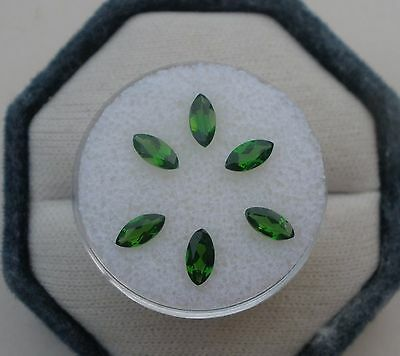 6 natural green chrome diopside marquise loose faceted gems 6x3mm each