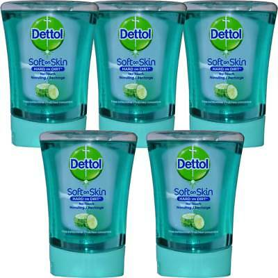 5x Dettol HARD ON Dirt recambio para sin contacto Dispensador de jabón, 250ml