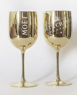 Moet Chandon Ice Imperial Glasses Gold Acrylic Champagne Glasses NEW /2 x Flutes