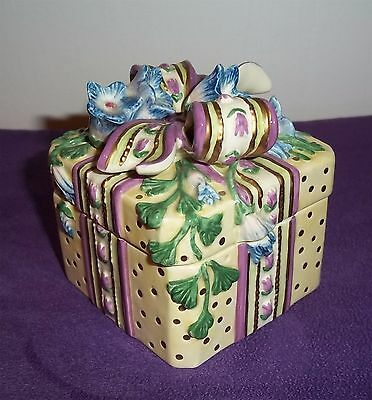 Fitz & Floyd Trinket Box Essentials Handcraft Present Gift Morning Glory Ceramic