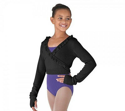 NWT Bloch Dance Black Long Sleeve Knit Frill Front Wrap Top Med Child CZ6549