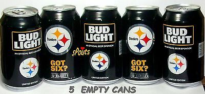 2017 Pittsburgh Steelers Nfl Kickoff Bud Light Lot 5 Beer Cans Sport Pa Football