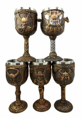 Norse Viking Asgard Gods Odin Thor Loki Valkyrie 7oz Wine Goblet Chalice Cup Set