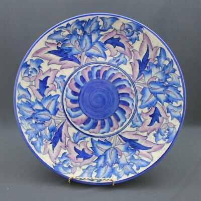 """Crown Ducal Pottery Signed CHARLOTTE RHEAD #4016 Blue Peony Serving Tray 12"""""""