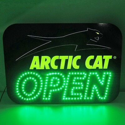 Arctic Cat LED Aircat OPEN Sign Snowmobile ATV Wall - Black & Green - 5224-048