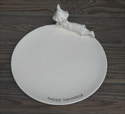 """Mud Pie Happy Haunting Plate Halloween Witch Figure Cookie Plate 12"""" Dunn Match"""
