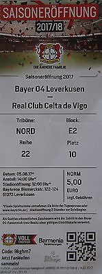 Real Club Celta de Vigo Sammeln & Seltenes Fußball TICKET Friendly 5.8.2017 Bayer Leverkusen