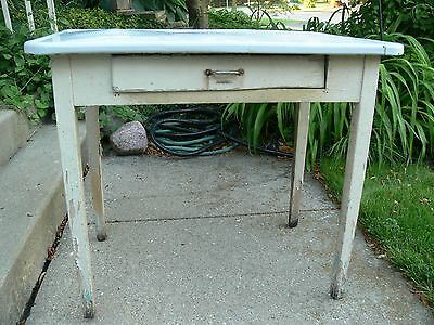 Antique White Distressed Wood W/Enamel Farm Kitchen Table With Drawer