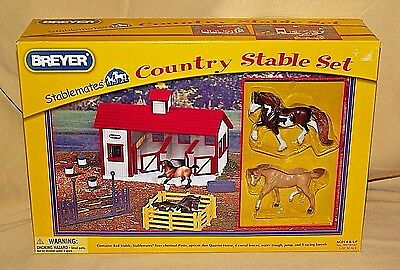 Breyer Stablemates Country Stable Set New 2010 Horses Fence 9979197 1:32 Scale