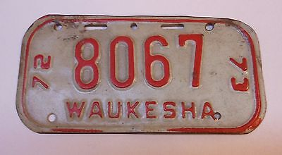 Vintage Wisconsin 1972-73 Waukesha Bicycle License Plate