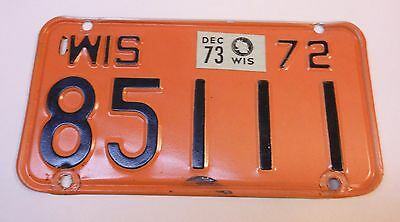 Wisconsin 1972 Motor Cycle  License Plate