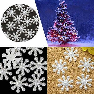 100PCS Resin White Snowflake Flat Back Scrapbooking For Phone/Wedding/Craft DIY