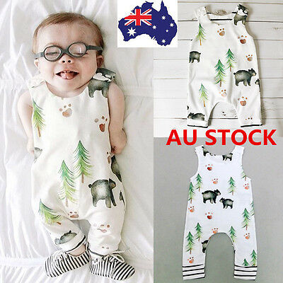 Kids Newborn Baby Boys Girls Bear Printed Jumpsuit Bottom Pants Vest Overalls