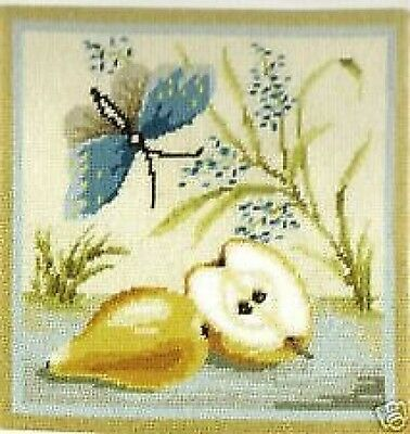 "Butterfly And Pears Tapestry/Needlepoint Canvas  DMC  11.75"" x 11.75"""