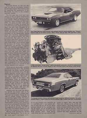 1971 Plymouth Cuda - Duster - Road Runner ~ Original 2-Page New Car Article / Ad