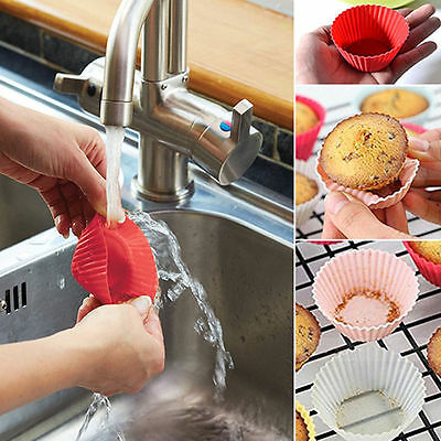 10Pcs Silicone Gâteau Coupe Cuisson Cupcake Muffin Moule Mariage Anniversaire