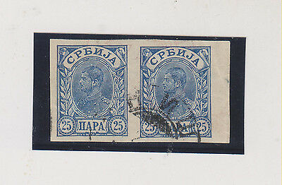 SERBIA,1896,imperforated pair 25 p,used  #