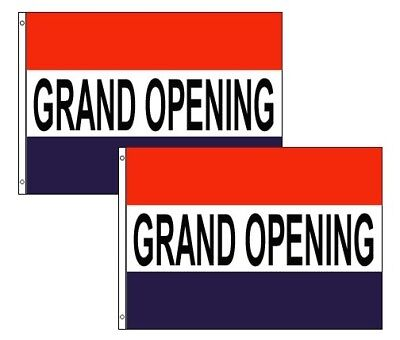 GRAND OPENING Business Banner Advertising Sign Polyester 3x5 Foot Flag Set of 2
