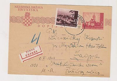 CROATIA,WW II,priority postal stationery,Dakovo 1943 #