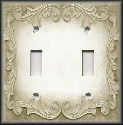 Metal Light Switch Plate Cover - Victorian Gothic Decor Ornate Frame Aged Cream