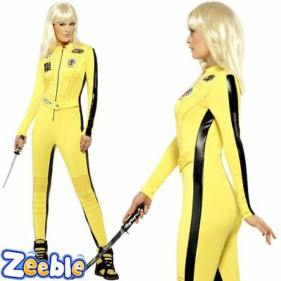 Womens Kill Bill Fancy Dress Costume Yellow Jumpsuit The Bride Outfit