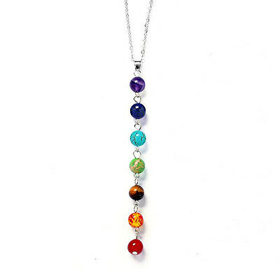 7 Chakra Healing Balance Beaded Pretty Necklace Natural Stone Yoga Reiki Prayer