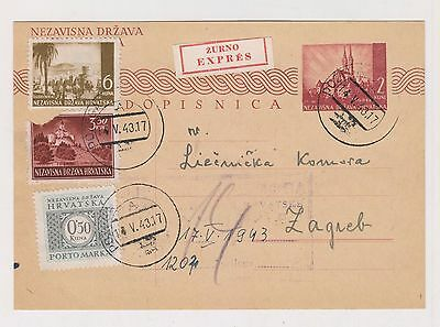 CROATIA,WW II,priority postal stationery,Pozega 1943 #