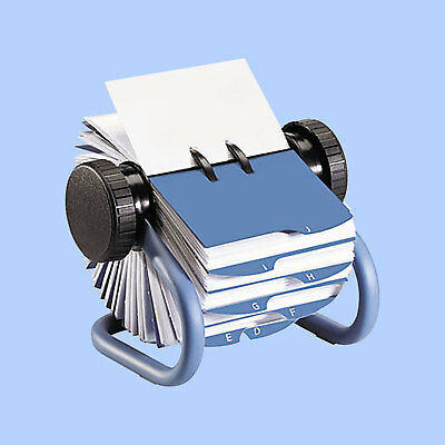 "Rolodex Metal Rotary Business Card File, 400 2-5/8"" x 4"" Card Capacity, Blue"