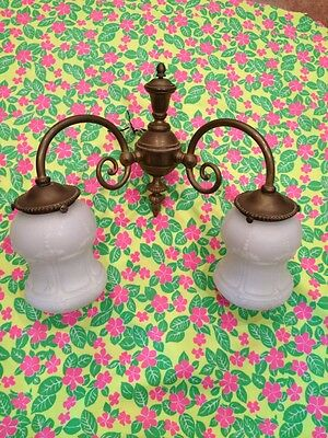 Fantastic Late 19 Victorian Antique Satin Glass Shades & Brass Wall Sconce Light