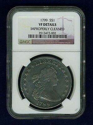 "U.s.  1799  Draped Bust Silver Dollar Coin, Ngc Certified ""genuine, Vf Details"""